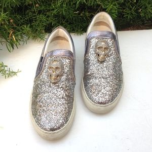 PHILIPP PLEIN Glitter Me Silver Skull Sneakers 6